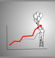 businessman on ladder using balloon to make red vector image