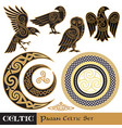 celtic magic set celtic horned moon and sun vector image