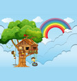 children playing on treehouse vector image