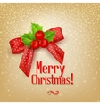 Christmas background with red bow and berry holly vector image