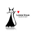 funny cat sketch for your design vector image