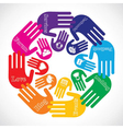 Hand showing different social media icons vector image