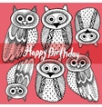Happy birthday Decorative Hand dravn Cute Owl vector image