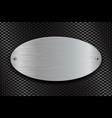 metal brushed oval plate on perforated steel vector image