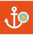 nautical anchor summer vacation sun splashes label vector image