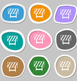 road barrier icon sign Multicolored paper stickers vector image