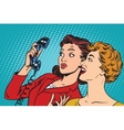 Two girlfriends and a telephone vector image