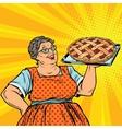 Old joyful retro woman with berry pie vector image