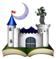 A book with a castle and a witch vector image