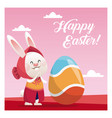 happy easter cute girl bunny egg pink background vector image