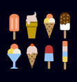 Set of ice creams and popsicles isolated on black vector image