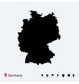 High detailed map of Germany with navigation pins vector image