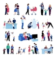 Parenthood family situations flat icons set vector image
