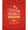 Merry christmas and Happy new year 2016 postcard vector image vector image