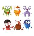 Cartoon cute character monsters set vector image