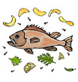 cooked fish with potatoo chips herbs spices lemon vector image