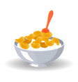 cornflake cereals in bowl with milk and spoon vector image