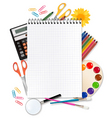 desing with school suppliess set vector image
