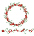 Round wreath with red berries isolated on white vector image