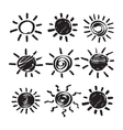 Set of Hand Drawn Symbols of Sun vector image