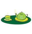 teapot with leaves symbols and tea cup vector image