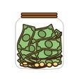 Cartoon money saving money glass vector image