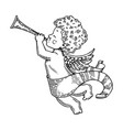 angel baby with horn engraving style vector image