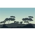 Meerkat and rhino silhouette in savannah vector image