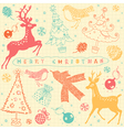 Vintage Christmas Deer Pattern Card vector image