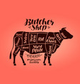 butcher shop meat cut charts beef cow steak vector image