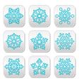 Snowflakes winter blue decoration buttons set vector image