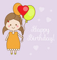 Cute smiling little girl holding balloons shappy vector image