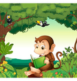 A monkey reading a book at the forest vector image vector image