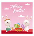 happy easter couple bunny carrying egg pink vector image