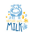 farm nature milk logo symbol colorful hand drawn vector image vector image