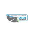 road traffic safety symbol with asphalt highway vector image vector image