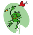Cartoon frog princess with heart and arrow vector image vector image
