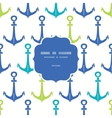 Anchors blue and green frame seamless pattern vector image