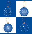 christmas bauble set greeting card design vector image