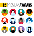Colorful male and female user icons avatars vector image