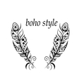 Feathers in boho style vector image