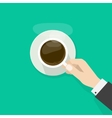 Hand holding hot coffee cup with steam on plate vector image