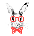 Hipster rabbit Hand drawn watercolor sketch vector image