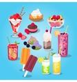 Large Set of Sweets Food Design Flat vector image