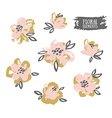 Set of stylish grunge pink and gold flowers vector image