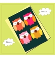 Sleeping owls card vector image