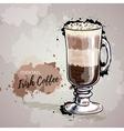 Hand drawn cocktail irish coffee vector image