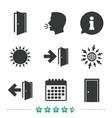 doors signs emergency exit with arrow symbol vector image