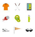 golf market icons set flat style vector image vector image