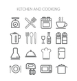 Set of simple icons for kitchen and cooking vector image